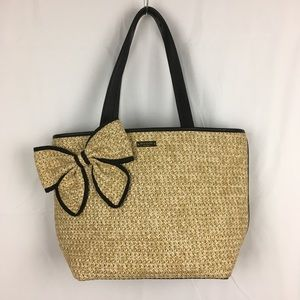 Kate Spade Belle Place Woven Straw Tote Black Trim